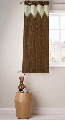 Fabutex Polyester Brown Floral Eyelet Window Curtain