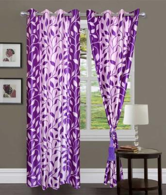 JTInternational Polyester Purple Striped Eyelet Door Curtain