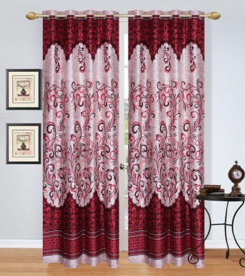 Rj Products Polycotton Mehroon Printed Eyelet Door Curtain