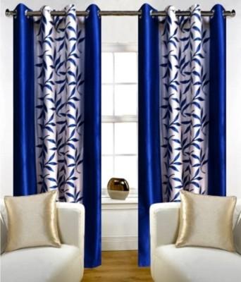 SJK Polyester Blue Floral Eyelet Window & Door Curtain