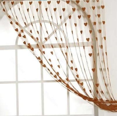 Ramcha Polyester Brown Abstract Eyelet Door Curtain