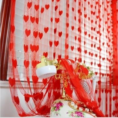 Sai Arpan Polyester Red Striped Eyelet Door Curtain