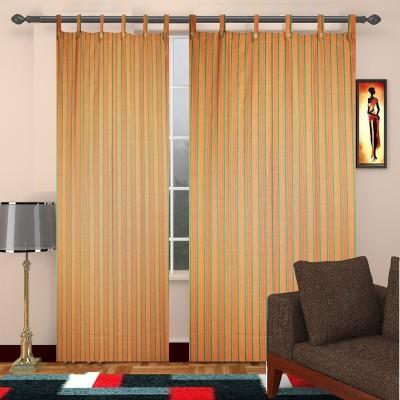 TG Shoppers Cotton Green, Dark Yellow Striped Curtain Door Curtain
