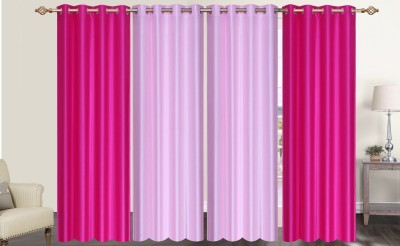 Furnishing Zone Polyester Pink Plain Eyelet Long Door Curtain