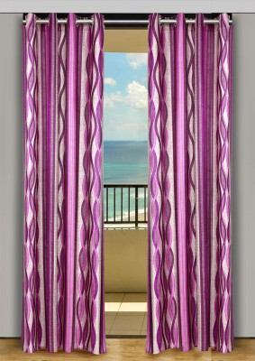 HOME-AID Polyester Purple Geometric Ring Rod Door Curtain
