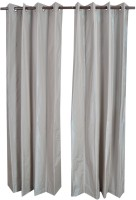 MABA Polyester Gray Plain Curtain Door Curtain(215 cm in Height, Pack of 2)