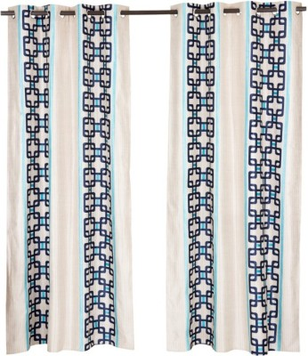 Home Aid Polyester Beige, Blue Geometric Eyelet Door Curtain