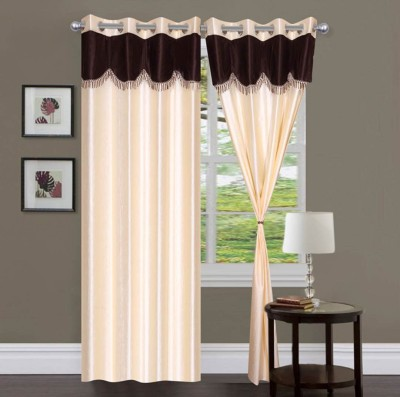 Fabbig Polyester White Geometric Eyelet Door Curtain