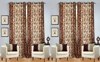 Hargunz Polyester Orange Abstract Eyelet Long Door Curtain
