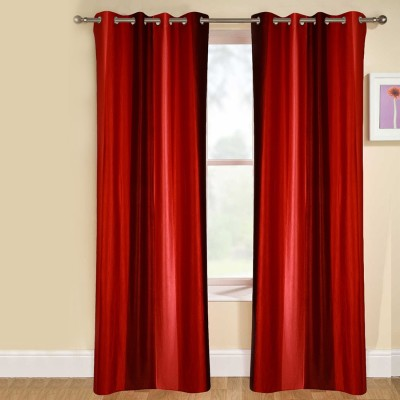 kaka furnishings Polyester Red Plain Eyelet Long Door Curtain
