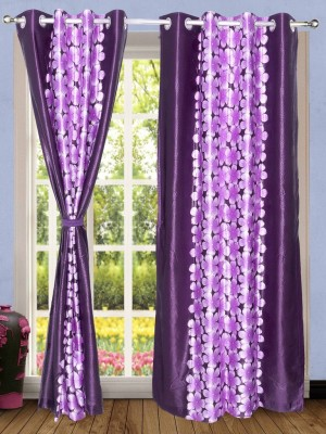 Wind Drape Polyester Violet Floral Ring Rod Door Curtain