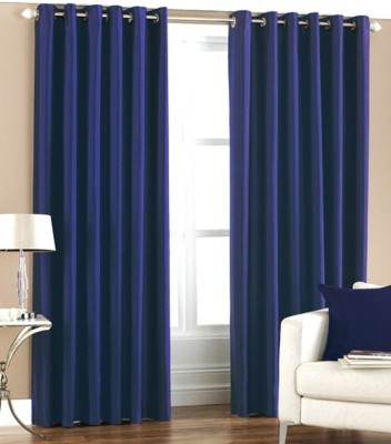 iLiv Polyester Blue Solid Eyelet Door Curtain
