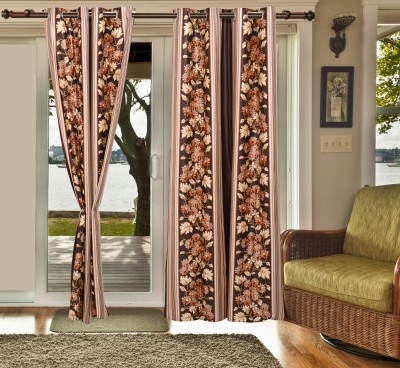 sachidanand solutions Polyester Brown Printed Eyelet Window & Door Curtain