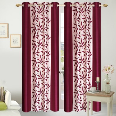 Shopgalore Polyester Wine Floral Eyelet Door Curtain
