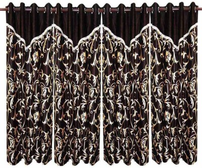 Deco Home Polyester Brown Printed Eyelet Window Curtain