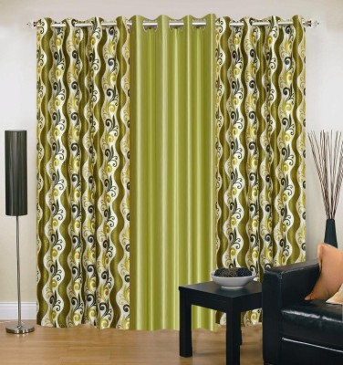 Brand Decor Polyester Green Floral Eyelet Door Curtain