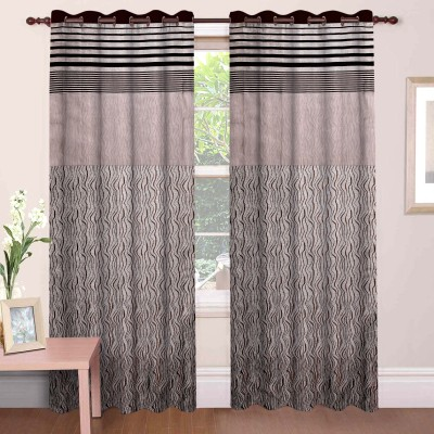 Mdf Curtains Jacquard Coffee Geometric Eyelet Long Door Curtain