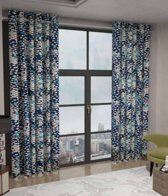 Home Fashion Gallery Polyester Blue Checkered Eyelet Window Curtain