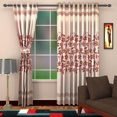 DBR Polyester Multicolor Floral Eyelet Window & Door Curtain