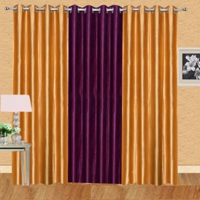 Excel Bazaar Polycotton Golden+1wine Plain Eyelet Door Curtain