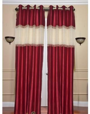 Brabuon Polyester Maroon Plain Eyelet Door Curtain
