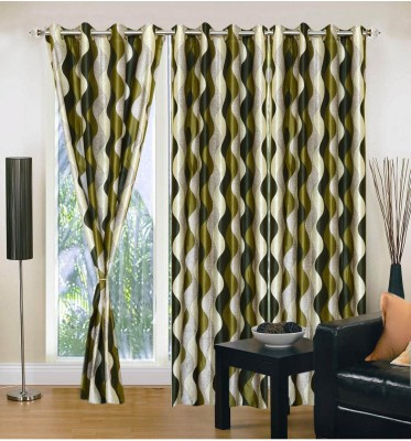 Fabbig Polyester Green Printed Eyelet Window Curtain