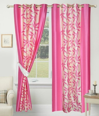 SLV Home Decor Polyester Pink Floral Eyelet Long Door Curtain