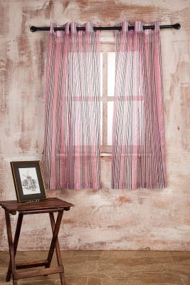 Marigold Polyester Pink Striped Curtain Window Curtain