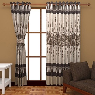 Raj Shobha HomeDecor Jacquard Brown Abstract Eyelet Door Curtain