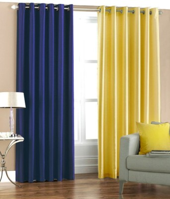 Sls Dreams Polyester Blue, Yellow Plain Eyelet Long Door Curtain