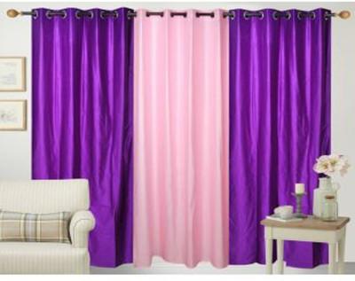 Ech Oly Polyester Pink, Purple Plain Eyelet Door Curtain