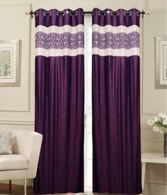 STC Polyester Purple Self Design Eyelet Door Curtain