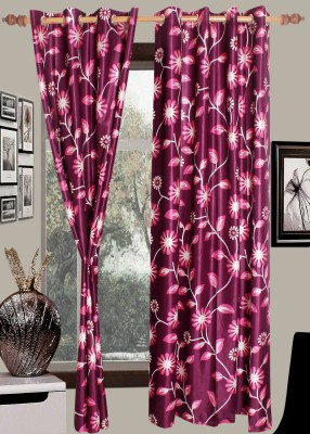Wraps N Drapz Polyester Purple Floral Eyelet Door Curtain