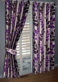 BNA Decor Polyester Purple Abstract Eyelet Window Curtain