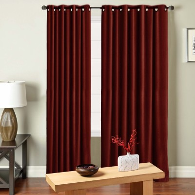 Saral Home Polyester Maroon Solid Eyelet Door Curtain