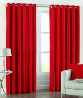 Panipat Textile Hub Polyester Red Plain Eyelet Door Curtain(213 cm in Height, Pack of 2)