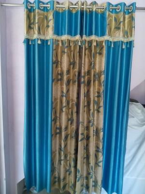 mansuriwala Polyester sky blue Floral Eyelet Window & Door Curtain