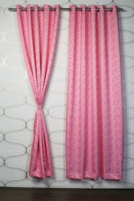 Titu Polyester Pink Abstract Eyelet Door Curtain