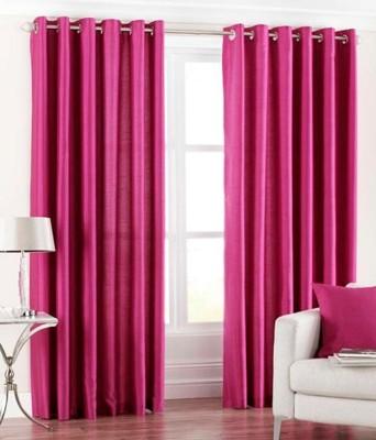 Hargunz Polyester Pink Geometric Eyelet Long Door Curtain