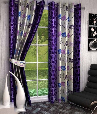Divine Polyester Purple Floral Eyelet Window & Door Curtain