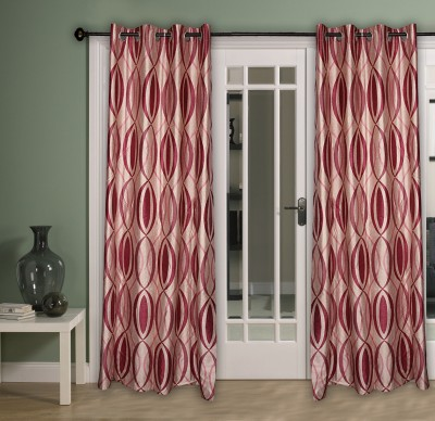 Home Aid Polyester Red Abstract Ring Rod Door Curtain