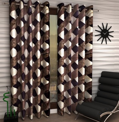 Home Fantasy Polyester Brown Checkered Eyelet Window Curtain