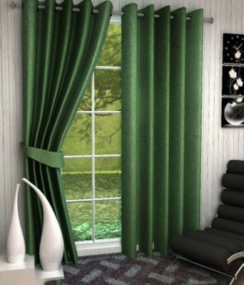 RedHot Polyester Green Plain Eyelet Window Curtain