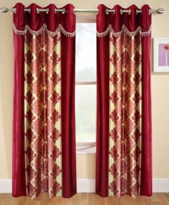 Home Deco Vatika Polyester Maroon Printed Eyelet Window Curtain