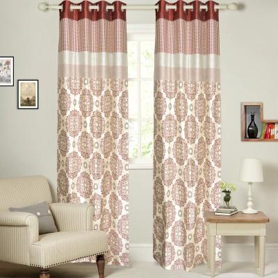 MF Viscose Maroon Damask Eyelet Window Curtain