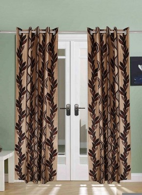 The Handloom Store Polyester Brown Floral Eyelet Long Door Curtain