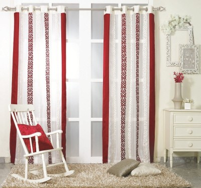 KC HOME Polyester Red, White Embroidered Curtain Door Curtain