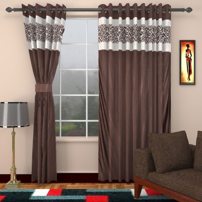 kart4smart Silk Brown Plain Curtain Window & Door Curtain