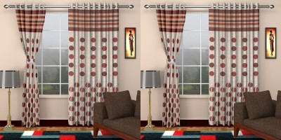 STC Jacquard Maroon Self Design Eyelet Door Curtain