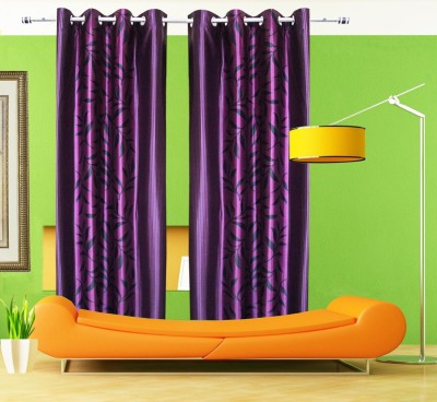 Home Fashion Gallery Polyester Multicolor Floral Eyelet Door Curtain